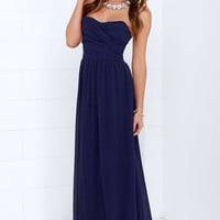 Royal Engagement Strapless Navy Blue Dress