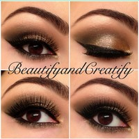 Neutral look with gold glitter
