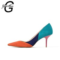 Women Color Block Stiletto Pumps In Mixed Materials With 3 Inch Heels