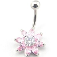 Baqi Cute Pink Crystal Flower Belly Button Navel Ring Bar Body Piercing Pink