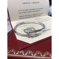 Authentic Cartier Juste Un Clou Diamond Bracelet 18k White Gold Size 16 w/ CoA