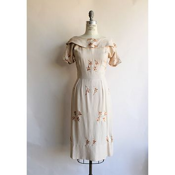 Vintage 1950s Brown Embroidered Dress