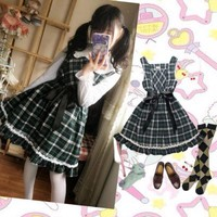 Japanese Girls Cute Diamond Checks Sleevess Dress Gothic Lolita Big Hem Dress with Black Sashes