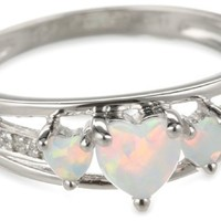 Sterling Silver Created Opal and Diamond Accent Three-Heart Ring, Size 6