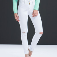 White Knee Slit Denim Pants