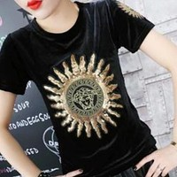 Versace Fashion Women Tiger Head Letters Print Short Sleeve Velours T-shirt Top Black