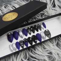 Matte Black & Purple Swarovski Press On Nails | Sheer Black Nails | Hand Painted Nail Art Design| Available in Any Shape and Size