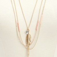 LAYERED CHAIN & BEADED CHARM NECKLACE