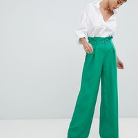 Missguided Wide Leg Paperbag Pants at asos.com