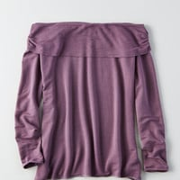 AEO Soft & Sexy Off-the-Shoulder Foldover Top, Purple