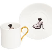 The Girl Inside Espresso Cup And Saucer