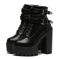 Rebel One Undergrounds Platform Punk Goth Boots