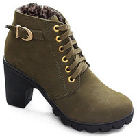 Plush High Heel Lace-Up Boots With MetallicBuckle