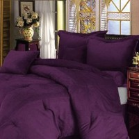 Chezmoi Collection 5-pieces Purple Microsuede Comforter Set with Crocodile Embossed Cushions, Twin