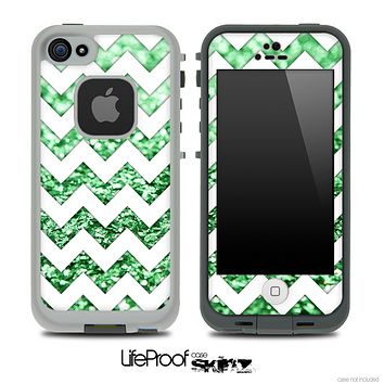 White Chevron Green Glimmer Skin for the iPhone 5 or 4/4s LifeProof Case