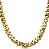 10mm 14k Gold IP Stainless Steel Cuban Chain