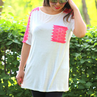 Crochet Detail Knit Top in Ivory/Pink