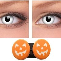 White Coloured Contact Lenses for Halloween, Including Halloween Pumpkin Soaking Case | AihaZone Store