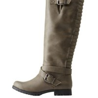 Gray Combo Double-Belted Riding Boots by Charlotte Russe