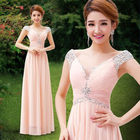 2015 new bride wedding dress sexy deep V slim evening dress long gowns engagement hosted service = 1930105412