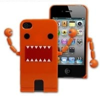 Cute Domo Kun Shape Hard Plastic Case For iPhone 4S / 4 - Orange ( With Movable Hands)