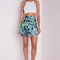 Missguided - Leaf print Wrap Mini Skirt Green