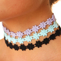 Flower Child Choker Ribbon Necklace Adjustable 90s tattoo multiple colors