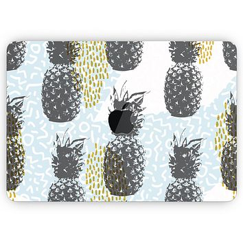 """Retro Summer Pineapple v5 - Skin Decal Wrap Kit Compatible with the Apple MacBook Pro, Pro with Touch Bar or Air (11"""", 12"""", 13"""", 15"""" & 16"""" - All Versions Available)"""