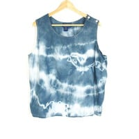Vintage Shibori Shirt -- Indigo Tie Dye Top -- Hand Dyed Sleeveless Blouse -- Boho Oversized Tank -- Slate Blue & White -- Womens