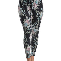 Floral Print Draped Knit Harem Pants