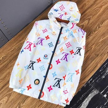 LV Louis Vuitton Summer Hooded Zipper Jacket Coat Sun-Protective Windbreaker