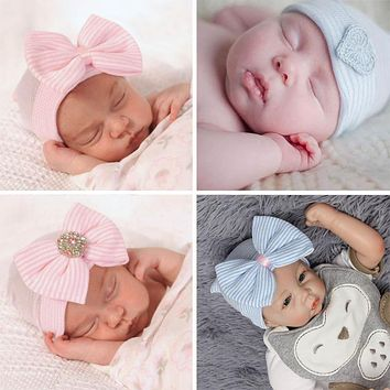 Crochet Baby Spring Hat Newborn Beanie With Bow For Baby Girls Cotton Knit Beanie S Infant Striped Caps Toddler Hat Accessories