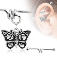 Butterfly with Skulls Charm Industrial Barbell