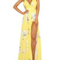 FFLMYUHULIU Women's Strap Floral Print Lace up Backless Deep V Neck Sexy Split Beach Maxi Dress