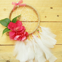 Pink Flower Boho Dreamcatcher: Pink Boho Home Decor, Dorm Decor, Small Dreamcatcher, Pink Dreamcatcher, Baby Girl Nursery Decor, Baby Shower