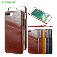 Retro Luxury Smooth Wax PU Leather Case For iPhone 7 6 6s 4.7 Card Slot Wallet Holster Cell Phone Cover For iPhone 7 6 6s Plus