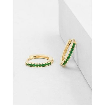 Mini Ear Huggies - Gold + Green