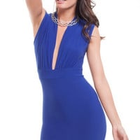 Deep Neck Bodycon Dress - Royal Blue