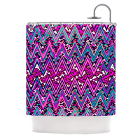 "Nika Martinez ""Pink Electric Chevron"" Shower Curtain"