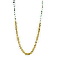 Emerald And Circle Cluster Long Necklace