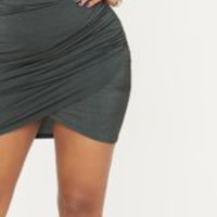 Shape Forest Green Ruched Side Split Bodycon Skirt