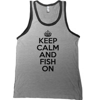 Keep Calm and Fish On Mens Tank Top - fathers day tee going fishing shirt hunting bait catch fisherman carp bass trout