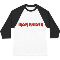 Iron Maiden Men's  Logo Baseball Jersey Black & White
