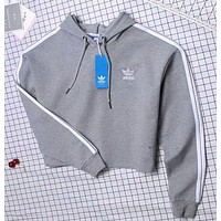 """Adidas"" Fashion Hooded Top Pullover Sweater Sweatshirt Hoodie Grey"