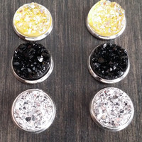 Druzy earring set- Sunflower drusy stud set - druzy earrings