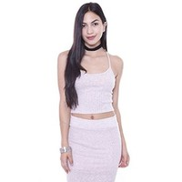 T6693 Rib Knit Pink Cross Back Crop Top Junior's Clothing