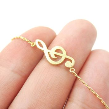 Classic Musical Note Treble Clef Shaped Music Themed Charm Necklace in Gold