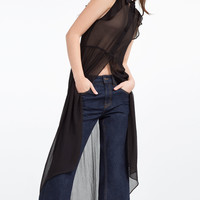 LONG FRILLED BLOUSE