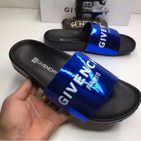 GIVENCHY PARIS andals Comfortable Loose Slippers Blue