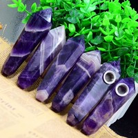 Drop Shipping   Natural  dream  Amethyst Crystal Smoking Pipe + strainer quartz  stone   healing wand    Free Shipping X23